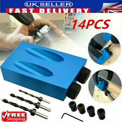 £7.99 • Buy 14PCS Silverline Pocket Hole Screw Jig Kit Woodworking Guide Drill Angle Locator