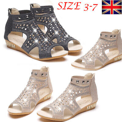 £12.99 • Buy Womens Diamond Strap Gladiator Ankle Sandals Open Toe Back Zip Shoes Flats