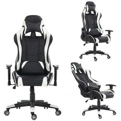 AU80.43 • Buy Gaming Computer Pc Chair Home Adjustable Racing Black And White Ergonomic Chair
