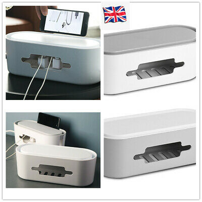 UK Cable Storage Box Case Wire Management Socket Safety Tidy Organizer Solution • 8.49£