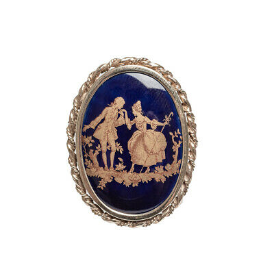 £149.99 • Buy 9ct Gold & Limoges Porcelain Vintage Brooch With Romantic Couple Scene
