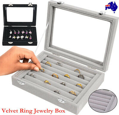 AU12.89 • Buy Earring Ring Jewelry Display Show Case Box Organizer Holder Storage Velvet Tray