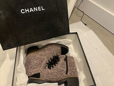 £150 • Buy Authentic Chanel Tweed Ankle Boots Baby Pink Uk3