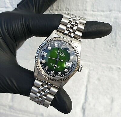 $ CDN6830.93 • Buy Mens Rolex Oyster Perpetual Datejust In Steel & White Gold - Green Diamond Dial
