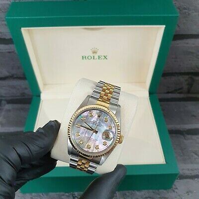 $ CDN8164.85 • Buy Gents Rolex Datejust In Stainless Steel & 18ct Gold With Black MOP Diamond Dial