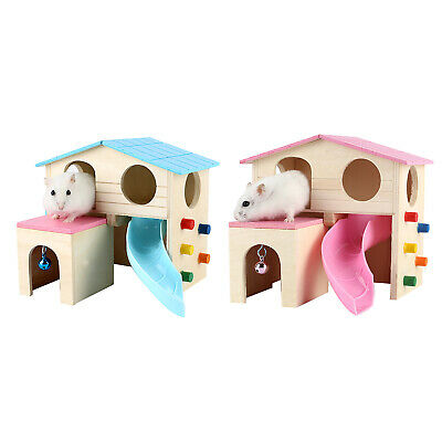 £8.30 • Buy Wood Hamster Hideout House, Small Animal Hut Play Toys With Climbing Ladder