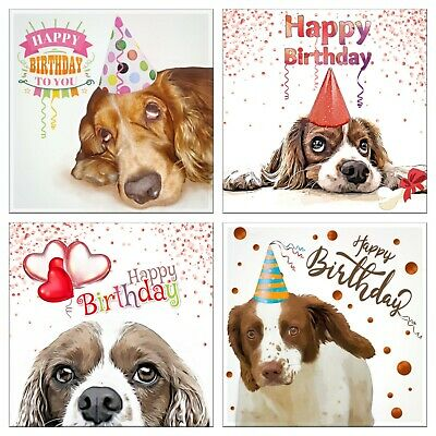 £3.99 • Buy Cocker Spaniel Happy Birthday Greeting Cards Pack Of 4 Mixed Designs Dogs Card