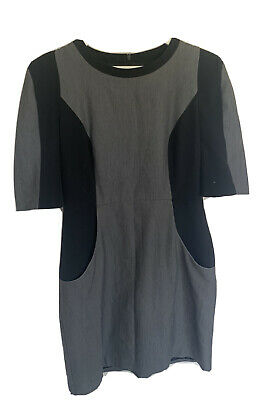 Grey Black Illusion Work Office Smart Dress With Pockets Size 14 • 3.99£