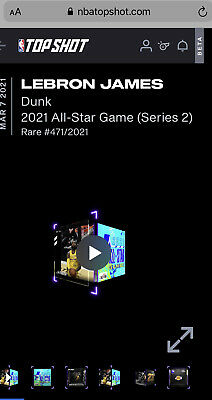 $1554 • Buy Lebron James NBA Top Shot Dunk 2021 All-Star Game (SERIES 2) #471/2021 RARE NFT
