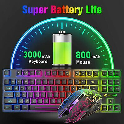 AU59.89 • Buy Wireless Gaming Keyboard And Mouse Combo USB 87 Keys Rainbow Backlit For PC PS4