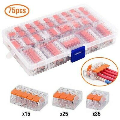 £8.88 • Buy 75PC For WAGO 221 Electrical Connectors Wire Block Clamp Terminal Cable 2,3,5 UK