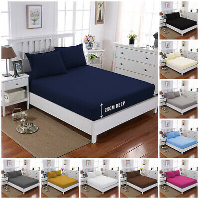 £7.79 • Buy Extra Deep Full Fitted Sheet Bed Sheets For Mattress Double King Super King Size