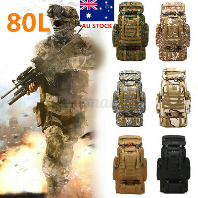 AU28.94 • Buy 80L Military Tactical Rucksack Backpack Hiking Camping Outdoor Tre