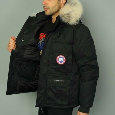 CANADA GOOSE Men's Jacket Winter Hooded Black Color Badge On 2XL Down Feather • 150£