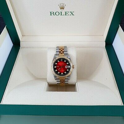 $ CDN7685.86 • Buy Gents Steel & Gold Rolex Oyster Perpetual Datejust - Red Vignette Diamond Dial