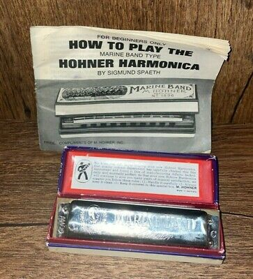 $38.95 • Buy Vintage M. Hohner Marine Band Harmonica No. 1896 Germany With Instruction Book