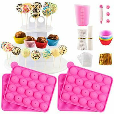 Cake Pop Maker Kit With 2 Silicone Mold Sets With 3 Tier Cake Stand Chocolate... • 35.31£