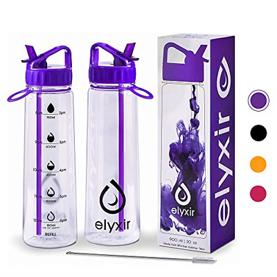 £13.43 • Buy Elyxir Water Bottle With StrawPurple & Cleaning Brush| 900 Ml Sports Water With