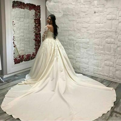 AU490.68 • Buy Cathedral Train Wedding Dress Scoop Neck Lace Appliques Satin Long Sleeves Pleat