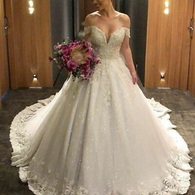 AU519.02 • Buy Ball Bridal Wedding Dress Shining Tulle Off Shoulder Lace Appliques Backless New