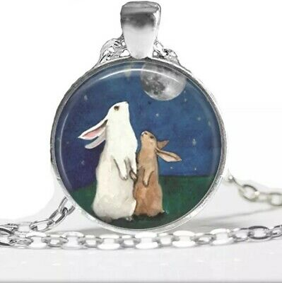 £4.99 • Buy Rabbit Bunny Art Girls Womens Silver Glass Dome Necklace Pendant Gift Jewellery