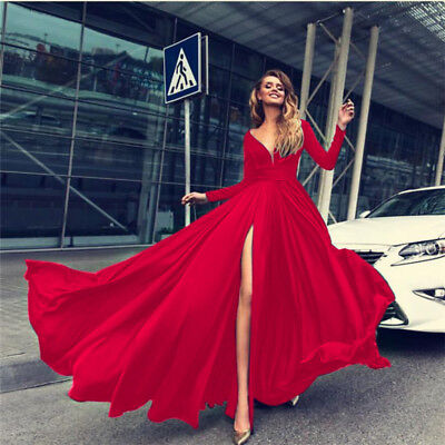AU24.12 • Buy Women's Long Sleeve V-Neck High Slit Maxi Dress Cocktail Prom Party Evening Gown