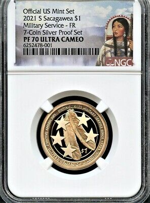 $32.95 • Buy 2021 S Sacagawea $1 Military FR From 7-Coin Silver Set NGC PF70 UC (Portrait)