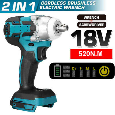 £22.99 • Buy 18V Electric Cordless Impact Wrench Brushless Torque Driver For Makita Battery