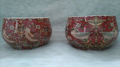£15 • Buy Heron Cross Pottery X 2 Bowls William Morris Des In Red 'strawberry Thief'
