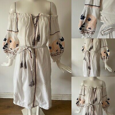 AU36.10 • Buy Oysho White Cotton Bandeau Embroidered Vtg Mexican Style Summer Cover Up Dress M