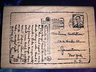 $10.99 • Buy Vintage Postcard Post Rubber Stamp, Raindrops On Roses, Collages, Mixed Media