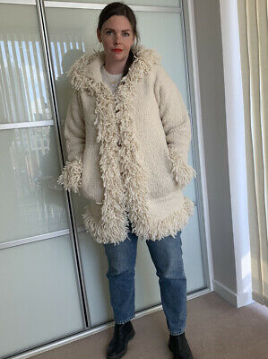 BNWT Pachamama Shaggy Boucle Hand Knitted Wool Hooded Coat Cardigan Cream 1 Size • 100£