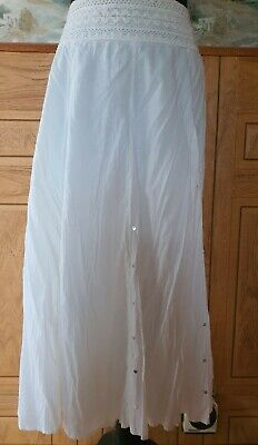 Stunning White Cotton Sequin Detail Long Floaty Skirt Bnwt Size 18 From Tu  • 5.99£