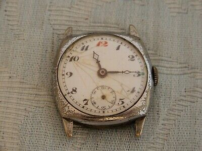 £25 • Buy 1920's  Red 12  Officers Style Cushion Shaped Watch, A/F For Restoration Or Bits