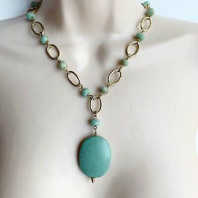 $ CDN17.29 • Buy Lia Sophia Turquoise Mint Green Beaded Chain Necklace Oval Pendant Gold Tone