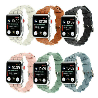 $ CDN19.01 • Buy For Apple Watch Series 6 5 4 3 2  IWatch SE 42 MM Woven Leather Band Women Strap