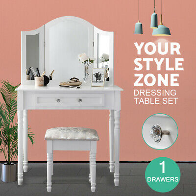 AU140 • Buy European Modern White Dressing Table With Mirror Stool Package Makeup Cabinet