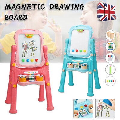 £22.79 • Buy Children Magnetic Drawing Board Easel Double Sided Folding Kids Doodle Sketchpad