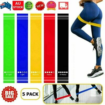 AU10.22 • Buy 5pcs Set Resistance Bands Loop GYM Fitness Exercise Yoga Training Booty Band