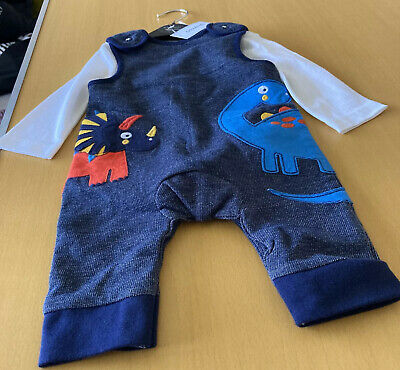 £9.50 • Buy Debenhams Baby Boy Bluezoo Dinosaurs Dungarees Outfit Set 0-3 Months Bnwt Gift