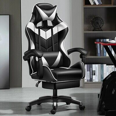 AU90.65 • Buy PC Gaming Chair Swivel Highback Ergonomic Racing Leather Office White/Black New