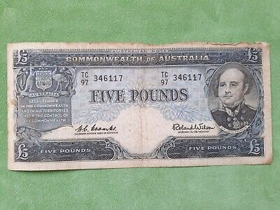 AU70.10 • Buy Banknote From Australia 5 Pounds 1960 Coombs Wilson