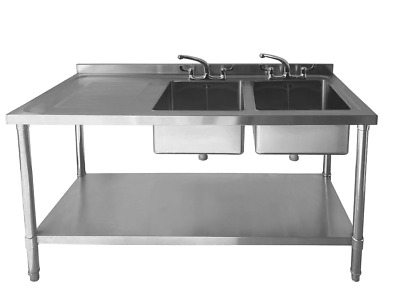 £329.99 • Buy Commercial Stainless Steel Sink - Double Bowl - 1500mm - Left Hand Drainer
