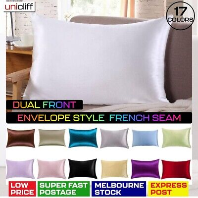 AU12.89 • Buy 2 Pcs Satin Silk Pillow Cases Cushion Cover Bedding Home Decor' Smooth Soft NEW