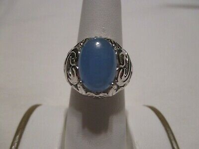 $ CDN24.17 • Buy NEW WITH TAGS! QVC ITEM #J349653 LARGE STERLING SILVER GENUINE BLUE JADE RING-8