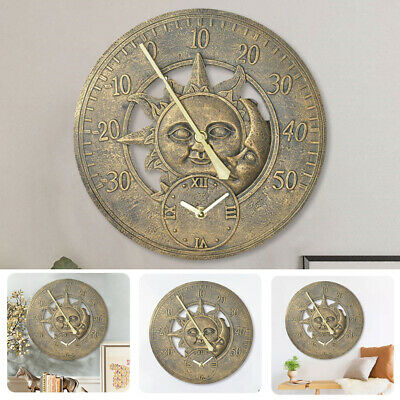 £18.95 • Buy Large Garden Resin Sun Moon Office Weather Station Wall Clock Thermometer Patio