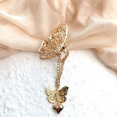 $ CDN0.01 • Buy New Gold Vintage Long Tassel Butterfly Metal Hair Claw Love Pendant Crab Clips F