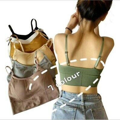 £3.97 • Buy New Womens Strappy Sport Yoga Backless Bralette Padded Bra Crop Top Cami Vest AA