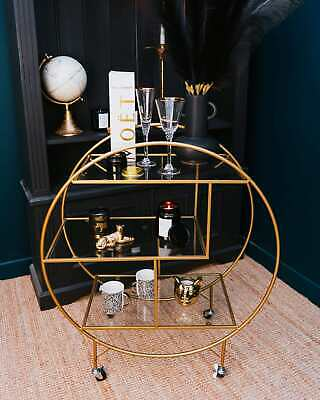 £229.99 • Buy Round Drinks Trolley With 3 Shelves Antique Gold Art Deco Glam
