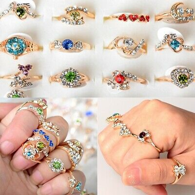 $ CDN31.43 • Buy Wholesale Mixed Lots 50pcs Crystal Rhinestone Gold Plated Women's Fashion Rings
